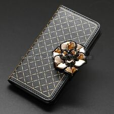 Luxury Black Gold 3D Flower Bling Card Cover Wallet Case for Apple iPhone 6S