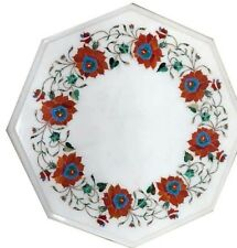 "12"" marble inlay floral Table Top semi precious stones art work"