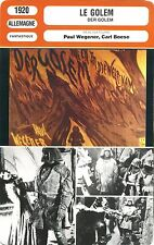 Fiche Cinéma Movie Card. Le Golem/Der Golem (Allemagne) 1920 P. Wegener C. Boese