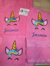 Unicorn Face sm Crown Personalized 3 Piece Bath Towel Set  Any Color