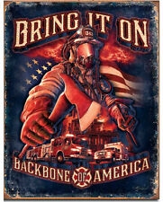 Fire fighters bring it on Metal tin sign firefighters home garage wall decor new