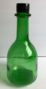 VINTAGE EMERALD GREEN  WINE BOTTLE LARGE BLACK LID GALLO