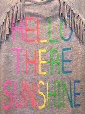NWT Hello Sunshine Sparkly Rainbow Grey Heather Fringe T Shirt Top Girls 10 NEW!
