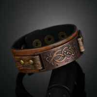 Men's Vintage  Wrap Leather Wristband Bracelet Cuff Charm Bangle Gift Jewelry