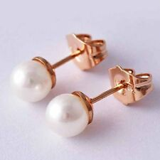 Pretty White Pearl ball Rose Gold Plated Vintage Womens cute Stud Earrings lot