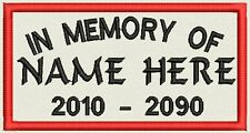 """In Memory Rectangle Name Tag, Biker Patch, badge 4.5"""" x 2.5"""""""