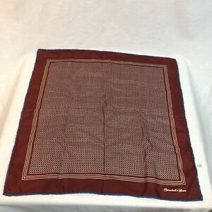 Turnbull & Asser Authentic Men's Red Pocket Square 100% Silk Made in England