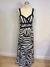 JAEGER BLACK & WHITE SILK PRINT MAXI DRESS SIZE 10