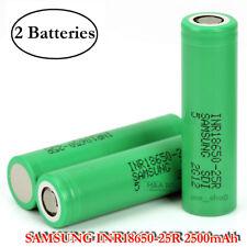 2x Samsung INR 18650 25R 20A 2500mAh Rechargeable Flat Top High Drain Battery