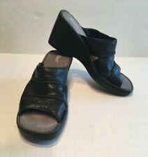 Bass Sandals Black Leather Women's Size 7.5 M Comfort Wedge Sandals