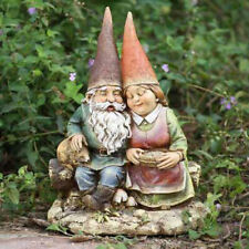 Gnome Loving Couple Wife on Bench Outdoor Statue Patio Garden Yard Lawn Decor