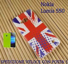 Cover case custodia gel in gomma silicone x Nokia Lumia 550 BANDIERA INGLESE