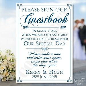 Wedding Guestbook Card Sign Guest Book Birthday Please Our Party Decoration Name