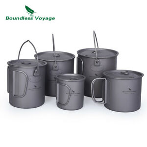 Outdoor Camping Titanium Coffee Cup Tea Water Mug Pot with Lid Folding Handle