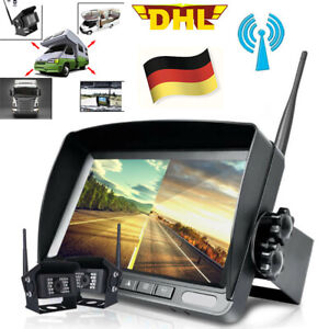 "2x Funk Digital Kabellos Auto Rückfahrkamera + 7"" LCD Split Monitor Für LKW RV"