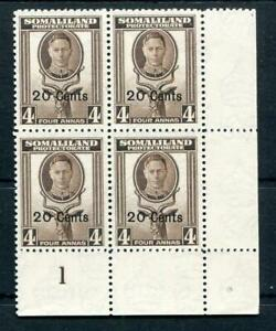 Somaliland 1951 20c on 4c sepia SG128 MNH Plate Block #1A