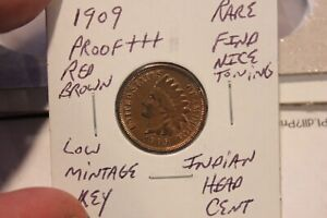 1909  RED BROWN KEY LOW MINTAGE TONED PROOF+++  INDIAN HEAD CENT