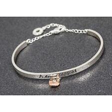 Equilibrium Silver Plated Elegance Charm Bangle Heart Of Gold Bracelet Gift