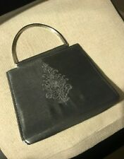 BHS ~ SHINY SILVER FABRIC EMBROIDERED EVENING BAG ~ 2 SILVER TONE METAL HANDLES