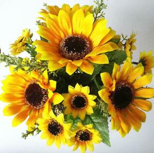 7 Heads Artificial Sunflowers Fake Silk Flower Bouquet Wedding Home Garden Decor