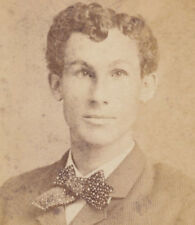 PORTRAIT OF YOUNG MAN W/ CURLY HAIR   FANCY BOW TIE - BROCKTON, MASS