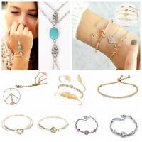 Fashion Women Gold Silver Punk Cuff Bracelet Bangle Chain Wristband Set Jewelry