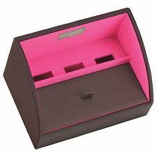 Stackers Charging Valet Mini Size Choc Brown With Bright Pink Lining