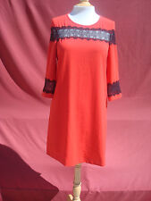 NWT Esprit Red Black Polyester Span Long Sleeve Casual Formal Women's Dress 8