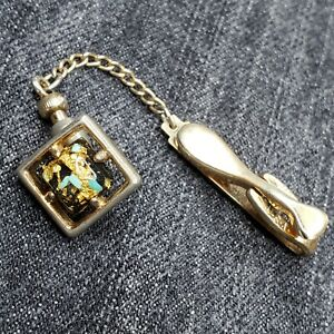 Vintage Hickok Gold-Tone Tie Tack Clip Turquoise & Gold Flakes Pin Formal USA