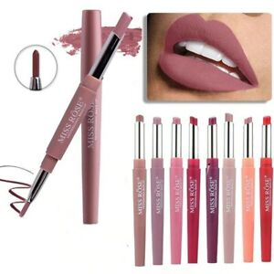DOUBLE HEAD Long Lasting Waterproof Pencil Lipstick Pen Matte Lip Liner Makeup..