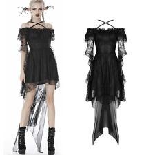 Dark en Love romántico pelo Puntas de Manga larga vestido Black Gothic Lace Dress