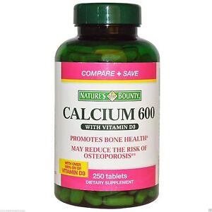 250 Calcium 600 High Potency Nature's Bounty Bone Health Minerals Vitamins D3