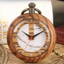Fashion Wooden Quartz Pocket Watch Natural Wood Bamboo Pendant FOB Chain Gift