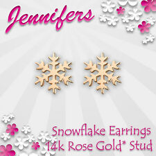 Rose Gold Snow Earrings Stud 14c Winter Snowflake Small Studs Earring Jewellery