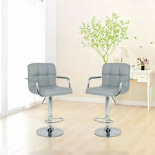 Adjustable Swivel Bar Stools Dining Chair Counter Height Leather Set of 2 Gray