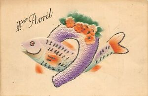 G46/ April Fools Day 1 Holiday Postcard c1910 Foreign Fish Horseshoe Glitter 5