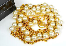 Long Chain Double Strand Necklace +Box Authentic Chanel Goldtone Faux Pearl 33""
