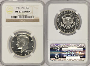 1967 SMS NGC MS67 CAMEO UNCIRCULATED SILVER KENNEDY HALF DOLLAR COIN! EXCELLENT!