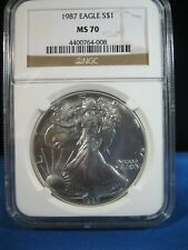 1987 SII;VER $1 AMERICAN EAGLE NGC MS 70   VERY RARE IN 70 STATE