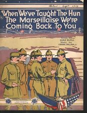 When We've Taught The Hun The Marseillaise 1918 Large Format Sheet Music