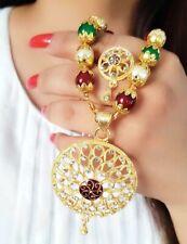 Brown Enameled Pendant Earrings Gift Jewel Gold Plated Brown Beaded Pearl String