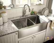 "33"" Kitchen Sink Farmhouse Apron 60/40 Deep Double Bowl 16 Gauge Stainless Steel"