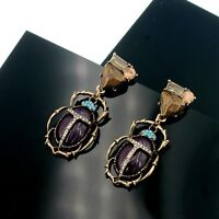 Earrings Nails Golden Insect Beetles Purple Mini Pearl Retro A23