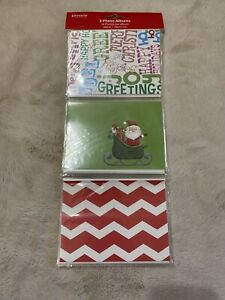 """Set of 3 Assorted Christmas 4x6"""" Photo Albums 1 Holds 24 pictures Holiday Santa"""