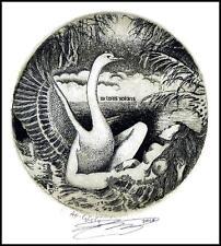 Naboka Oleg 2010 Exlibris C3 Leda and Swan Erotic Erotik Nude Woman Bird 19