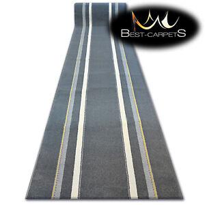 Modern Hall Runner FUNKY TOP TOL graphite stripes Width 80 -100 cm long AGNELLA