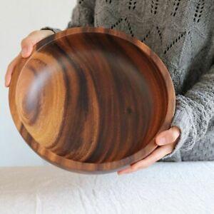 Large Capacity Salad Bowls 8x6cm Natural Acacia Wooden Fruit Tray Kitchen Decors