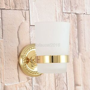 Gold Color Brass Toothbrush Holder Single Glass Cup Holder Wall Mounted Lba593