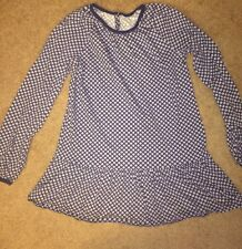 Land's End Girls Long Sleeve Navy And White Daisy Flower Panttern Shirt Size M