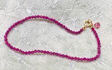 """Ruby Gemstone Bracelet Strand pretty elegant real gems 7.5"""" stack layer 18k Gold"""